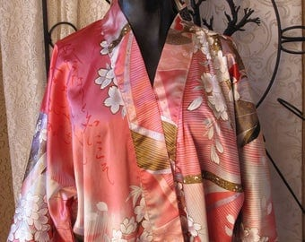Vintage Japanese Lady Juguemm Kimono Robe Large 1980's Pink Cherry Blossom  Free US Shipping