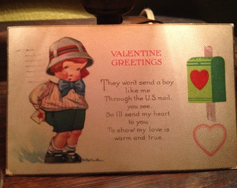 Vintage 1925 Valentine Postcard Redhead Boy with Letter for Mailbox