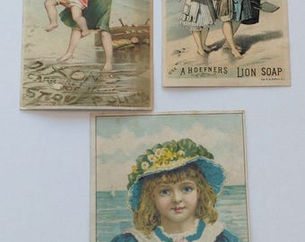 Victorian Trade Cards Children Seashore on the Beach Lion Soap & Dixon Stove Polish Vintage Advertising Lot