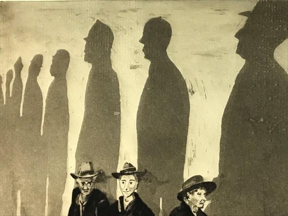 "A. Graeme Mitchell (1889-1941) Etching of Depression Era Men Titled ""Shadows"""