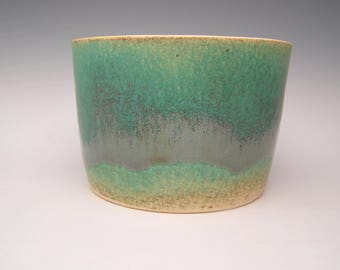 ceramic  planter succulent pot modern Planter stoneware planter pottery  pot planter variegated green metallic  7  x 4 3/4