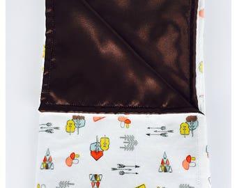 BABY BLANKET / Kodiak on White  background minky print with soft silky satin /Great  baby shower  gift/ Gender neutral