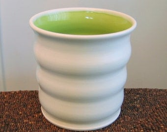 Beehive Utensil Crock in Lime Green - Ceramic Utensil Holder - Stoneware Pottery Utensil Caddy, Kitchen Organizer