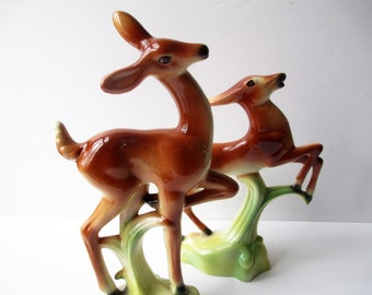 Vintage McCulloch Deer Gazelle Ceramic Figurines Pair - Kitsch