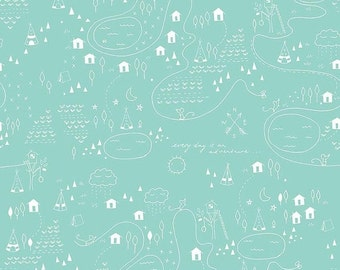 ON SALE Greatest Adventure Map Aqua - 1/2 Yard