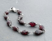 RESERVED for LC - Faceted Red Garnet Gemstone and Sterling Silver Bracelet, January Birthstone, #4741