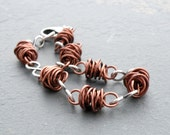 RESERVED for NK - Copper and Sterling Silver Wire Bracelet, Twisted Wire, Wire Wrapped, Non-Tarnish Copper, #4763
