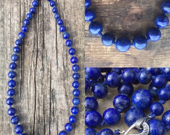 Lapis lazuli graduated silk knotted necklace
