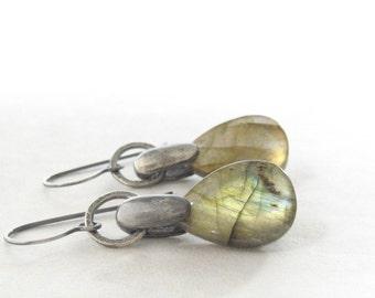 labradorite and silver earrings, gemstone dangle earrings, oxidized silver jewelry, blue green dangle earrings