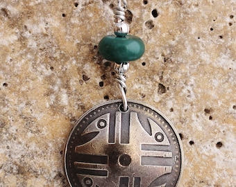 Colombia, Domed Coin Necklace, 200 Pesos, 2006, Colombian Ancient Art Pendant, Turquoise Stone, by Hendywood