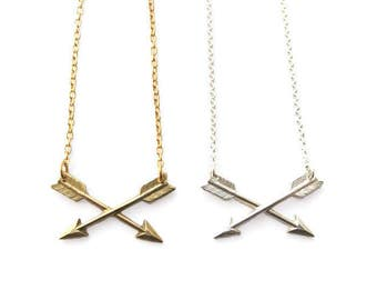 Best Arrow Necklace, Sterling Silver, Brass, Small Arrow Necklace, Crossed Arrows, Friendship Necklace, Gold Arrow, Silver Arrow