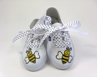 Bumble Bee Shoes, Hand Painted Canvas Sneakers for Baby and Toddler, Bee Baby Shower, Bee Birthday Party Theme,