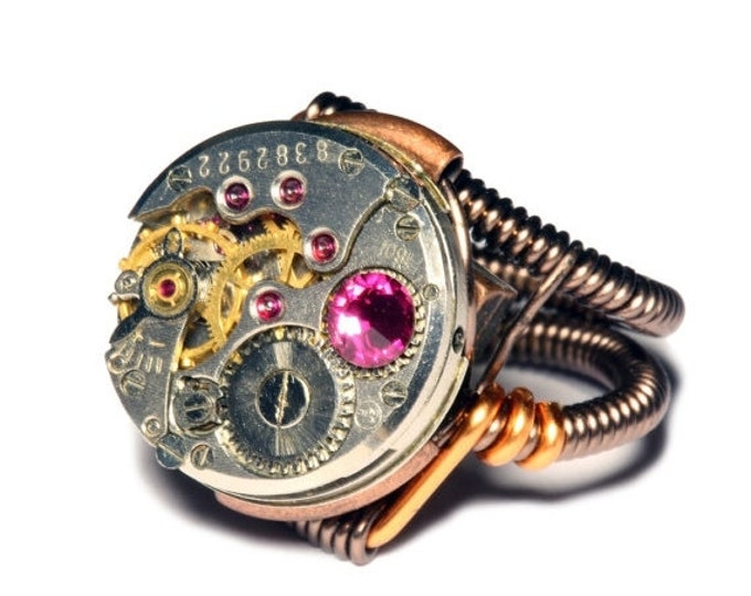 Steampunk ring, Steampunk Jewelry, Watch Movement Steampunk Ring with fuchsia crystal by Catherinette Rings