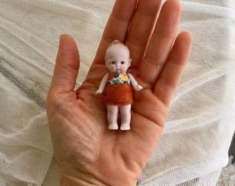 Antique German Tiny Bisque Miniature Boy Toddler Doll