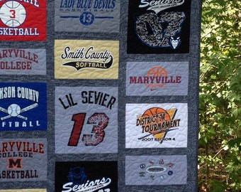 High school sports team memory quilt, football, soccer, basketball, cross country runner - - memory quilt .....Made to order
