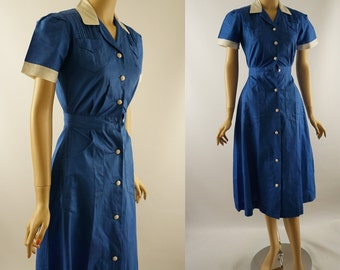 Vintage NWT 1950s Blue and White Waitress Uniform Dress by Wilkshire Sz XS B36 W24