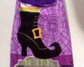 Blow Out Sale Halloween Hanging Towel - Halloween Crochet Top Towel - Witch's Boot Towel - If The Shoe Fits Towel - Purple Towel - Hanging D