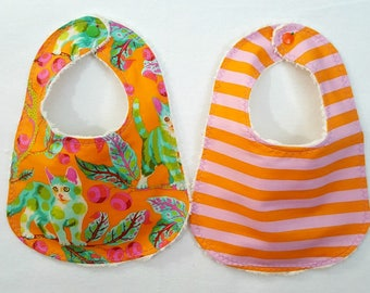 Modern Designer Baby Bibs Tabby Road Cats by Tula Pink Baby Girl