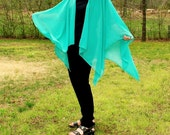 Turquoise Green Ruana, Shawl, Cape, Poncho or Beach Coverup in Lightweight Chiffon--One Size Fits Most Gypsies