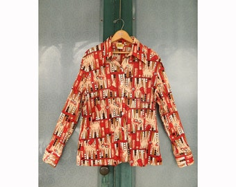 Vintage Beeline Fashions Backgammon Print Shirt