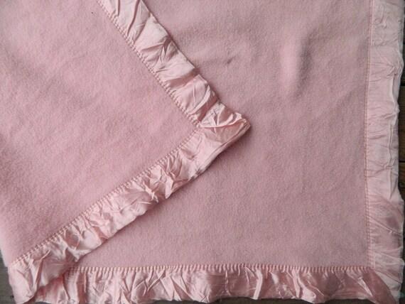 Vintage Baby Crib Blanket Plush Pink Wool Blend