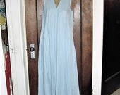 Vintage 60s Lt Blue Cotton A-Line Dress Sm - M Handmade As Is