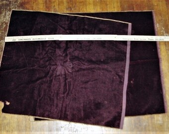 Vintage 40s 2 Panels Maroon Mohair Velvet Remnant Fabric Material As Is