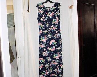 Vintage 90s Blue Flower Print Jumper Ladies Dress Plus 18 Full Length Sag Harbor