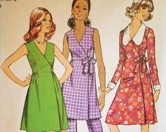 Vintage Wrap Dress Pattern Simplicity 9964 Bust 34 Mini Dress Pattern High Waist Pants Pattern Factory Folded