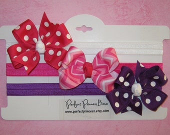 Set of 3 Baby Girl Hair Bows on Stretchy Satin Elastic Headbands for Newborn Infant Pinks, Purple, and White -READY TO SHIP