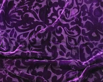 ROYAL PURPLE SCROLL - Hand Dyed Burnout Silk Velvet 1 Yard