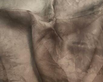 Hand Dyed TAUPE BROWN Silk Organza Fabric - 1/2 Yard