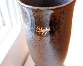 Elvish Black Stoneware Footed Cup