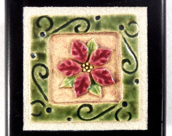 Flower Treasure Box, 2 x 2 inch Stoneware Art Tile set in Wooden Box