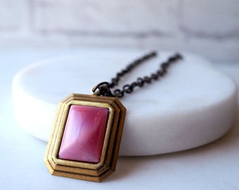 Art Deco Pink Necklace / Pink Vintage Glass / Retro Rectangle Pendant / Glass Cabochon / Antiqued Brass Chain / Pink Shimmer