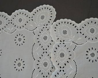 2 Large Vintage Embroidered Eyelet Table Runners,  34 & 38 inches long, White Cotton  1940s 1950s