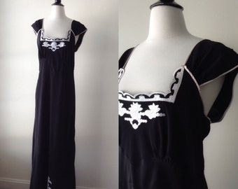 1950's black nightgown - 50's sleepy suzy lingerie - nwt nightgown