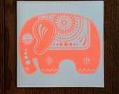CLEARANCE SALE Up To 90% Off ***Sugar Elephant - Hand Screen Printed Greetings Birthday Card Neon Orange On White***