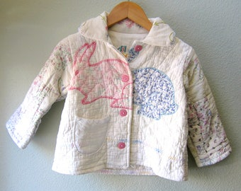 Little Girl Vintage Bunny Quilt Jacket, Quilt Coat, Vintage Quilt, Upcycled, Antique Linen, Kid Jacket OOAK Size 2, Cyndy Love, Quilted Coat