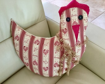Chicken Pillow with Curled Jute Bow 15 x 15 Inches Beige and Cranberry