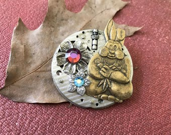 OOAK Rabbit Pin Steampunk Rabbit Pin One of a Kind Pin Vintage Watch Part Silver Flower Hare Bunny Pin Rhinestones Rose Red Baby Blue