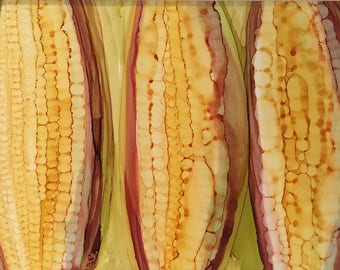Eat Your Corn Original 5x7 Alcohol Ink Painting on Yupo