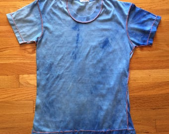 Vintage 60s 70s tie dyed blue tshirt as is