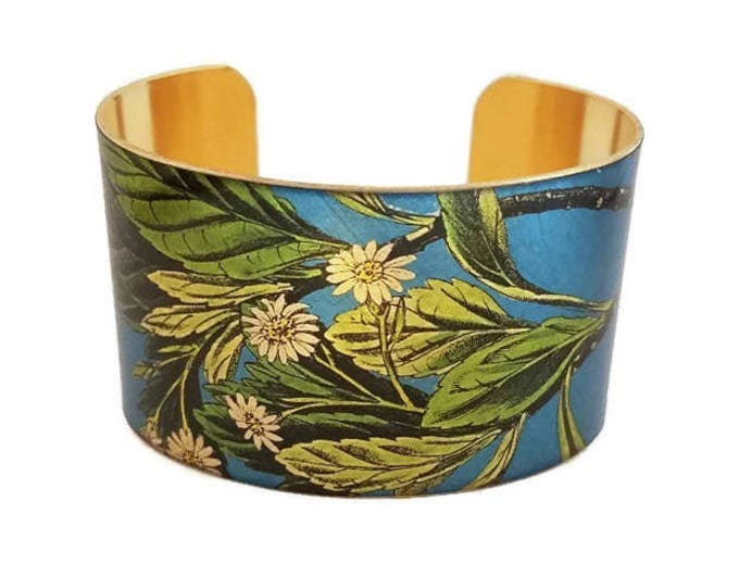 Asters Blue White Aster adjustable cuff bracelet Vintage style brass Gifts for her