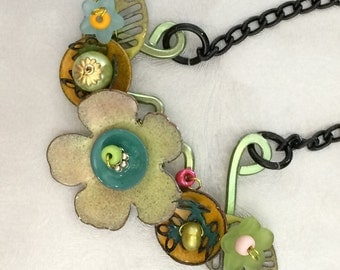 Torch Fired Flower Necklace