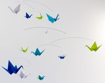 Small Origami Paper Crane Hanging Mobile Blues Green White, Bird Mobile Nursery Decor Kinetic Art, Colorful Mobile Girl Boy Baby Shower Gift