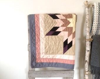 Baby Quilt | Modern Baby Quilt | Star Quilt | Crib Quilt | Lonestar Quit | Baby Girl Blanket | Gray Pale Pink Purple Beige
