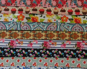 You Pick 5 yards of 5/8 Fold Over Elastic FOE Various Prints Floral Cupcake Paisley