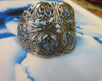 Sterling Silver Plated Brass Filigree Connector Stamping Bent or Straight  1070SOX x1