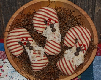 SET OF THREE Chunky Christmas Candy Cane Tucks Primitive Bowl Filers Red White Stripe Ornies